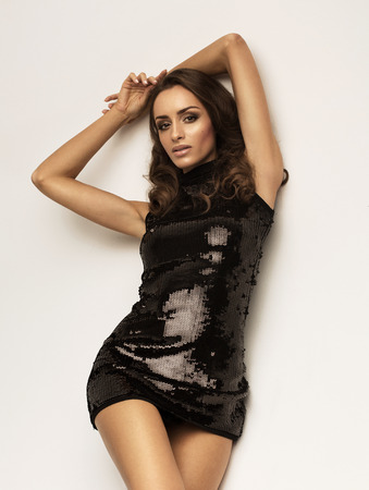 sexy party girl: Unusual woman in black dress