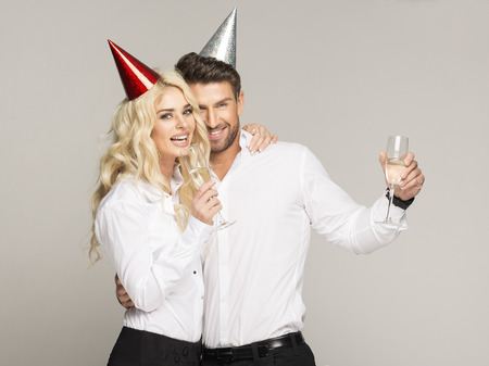 disco girls: Couple celebrating new years eve