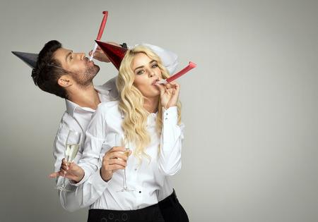 Couple celebrating new years eve photo