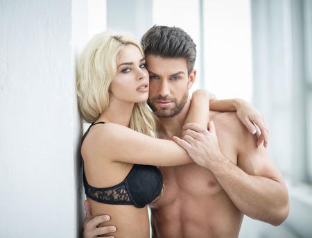 sensual nude: Portrait of beautiful couple Stock Photo