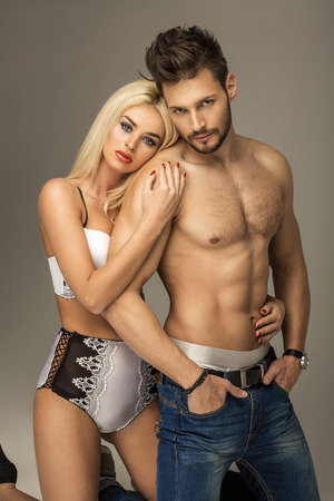 nude wife: Sexy couple Stock Photo