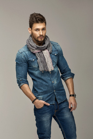 good looking model: Handsome man wearing jeans