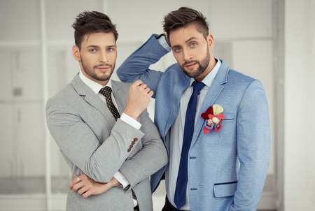 Fashion models posing in jacket Standard-Bild
