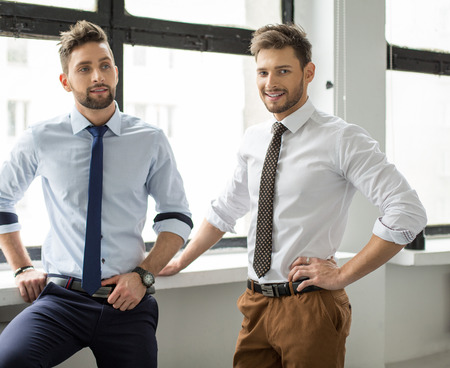 Two men fashion models posing Stock Photo