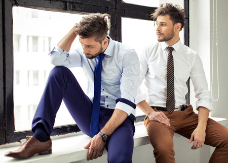 hunk: Two sexy handsome men posing Stock Photo