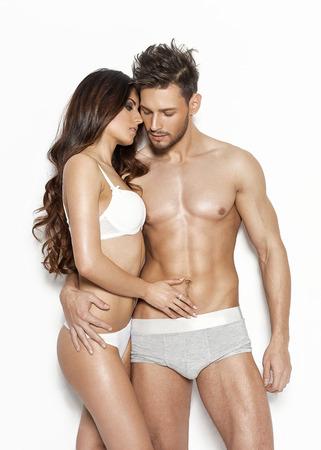 young couple sex: Сексуальная пара в нижнем белье Фото со стока