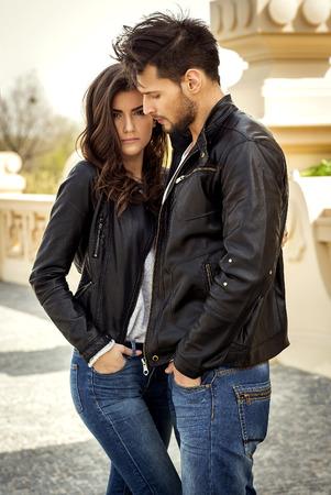Fashion couple outdoor Stock Photo