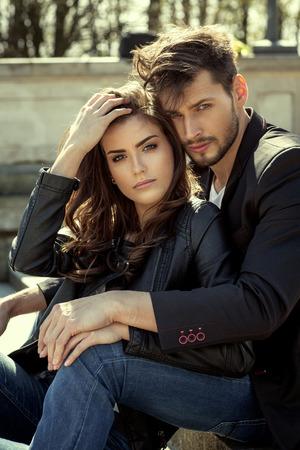 Portrait of fashionable couple Stock Photo