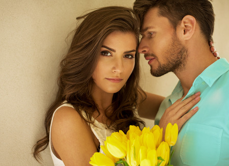 Beautiful colorful portrait of young couple