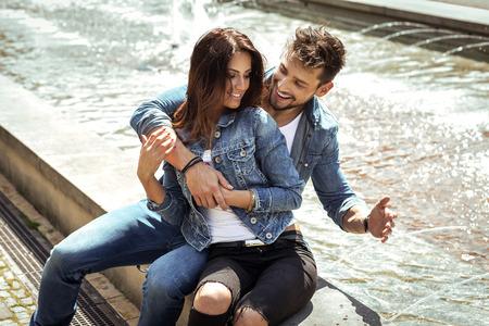 engaged: Beautiful happy couple