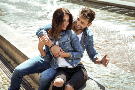 beard woman: Beautiful happy couple