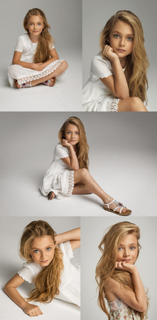 beautiful preteen girl: Collage portraits of beautiful pretty little girl Stock Photo