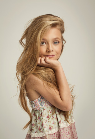 little blonde girl: Portrait of fashion little girl Stock Photo