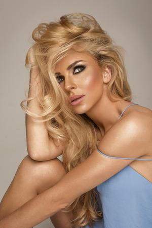 schöne augen: Porträt, blonde Frau,