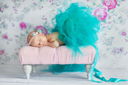 newborns: Newborn baby girl asleep Stock Photo