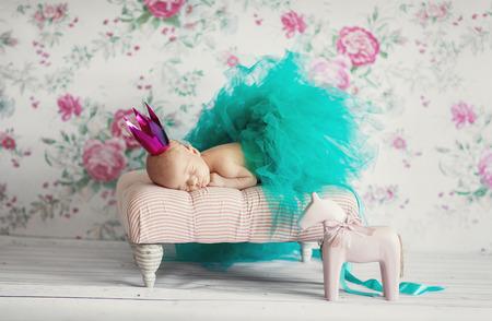 diaper baby: Newborn baby girl asleep Stock Photo