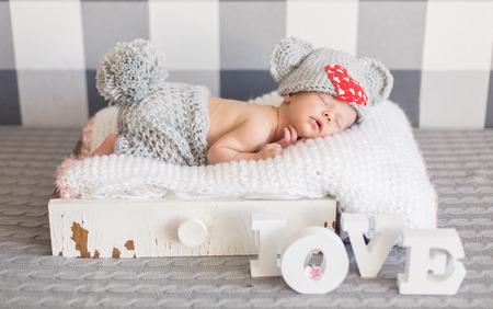 newborn baby: Newborn baby girl asleep Stock Photo