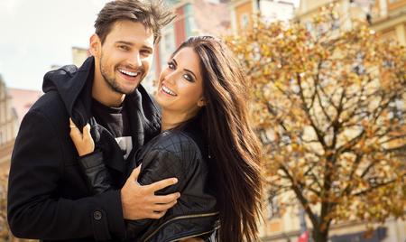Autumn portrait of happy couple