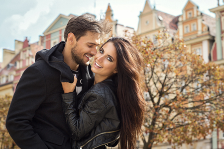 Romantic couple outdoor Stock Photo