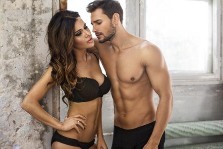 sensual nude: Kissing couple in underwear