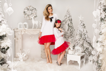 Mother and daughter in the same outfits wearing a tutu skirts in Christmas scenery