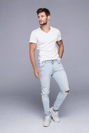 fashion: Sexy handsome man in white t-shirt