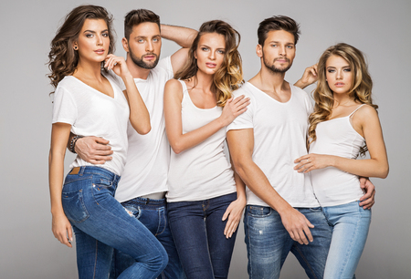 Group of young models posing Stockfoto