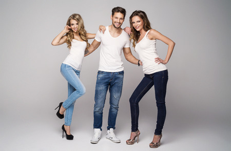 lucky man: Lucky man with two beautiful women Stock Photo