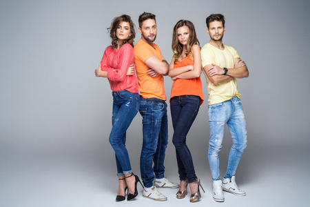 autumn young: Group of friends in fashionable clothes Stock Photo