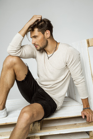 Portrait of handsome fashion male model Foto de archivo