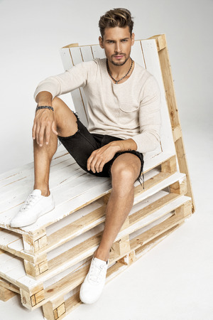 Portrait of handsome fashion male model Stock fotó
