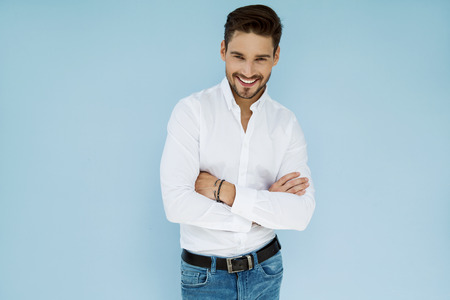 Sexy smiling handsome man