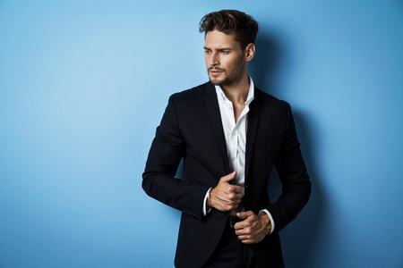 Handsome man wear black suit