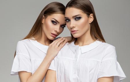 Beauty portrait of females faces
