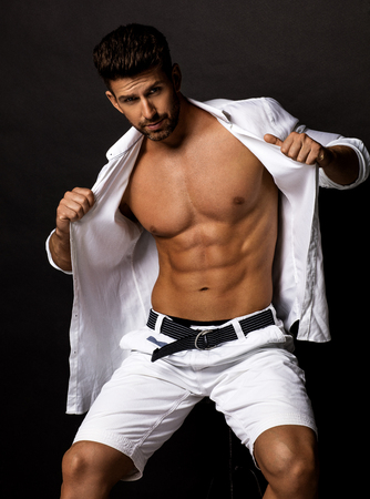 Portrait of sexy male model with muscular torso Stock fotó