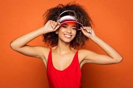 Beautiful black woman wear cap