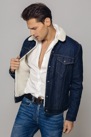 Handsome man wear jeans clothes Stockfoto