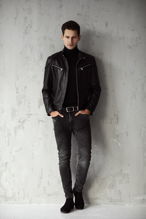 Handsome man in black outfit