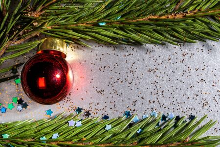a silver background sprinkled with bright stars and glitter and on which spruce twigs and a Christmas red