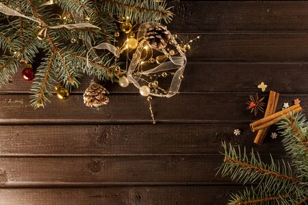 Christmas background on a wooden table with toys