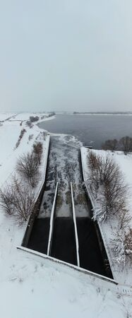 Sewage in Moscow river in winter Stock Photo