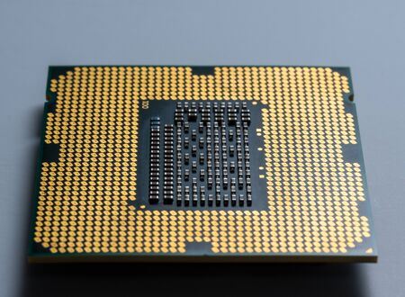 computer chip processor without legs with microcircuits in macro