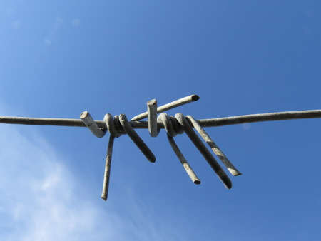 single  object: Barbed metal wire against the blue sky.