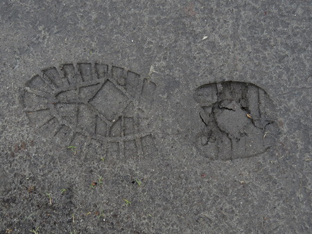 Footprint in the mud on a dirt path. photo