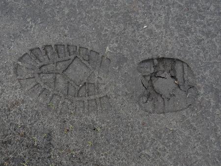dirt path: Footprint in the mud on a dirt path.