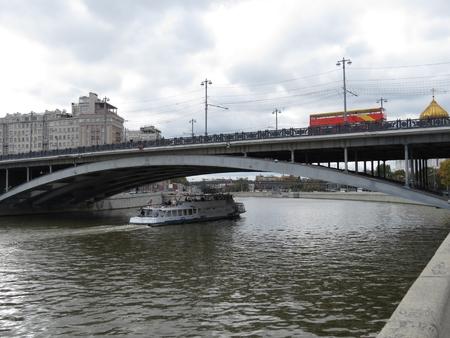pleasure: bridge near the Kremlin and pleasure boat Stock Photo