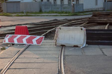 at close quarters: Repair of tram tracks in the summer season Stock Photo
