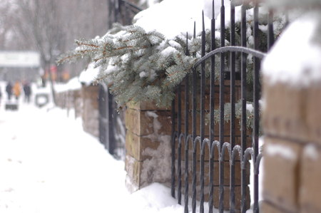 An ancient forged fence made of metal and stone in winter against a background of snow-covered streets and fir-trees.