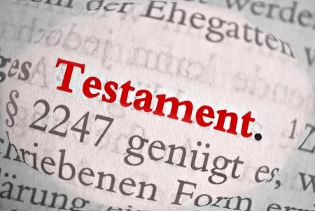 decedent: Testament  is the German word of last will   Stock Photo