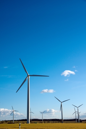 Wind Energy - A field with wind turbines to produce electricity